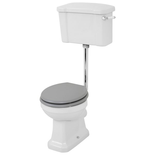 Wickes Oxford Traditional Low Level Toilet Pan, Cistern & Grey Soft Close Seat