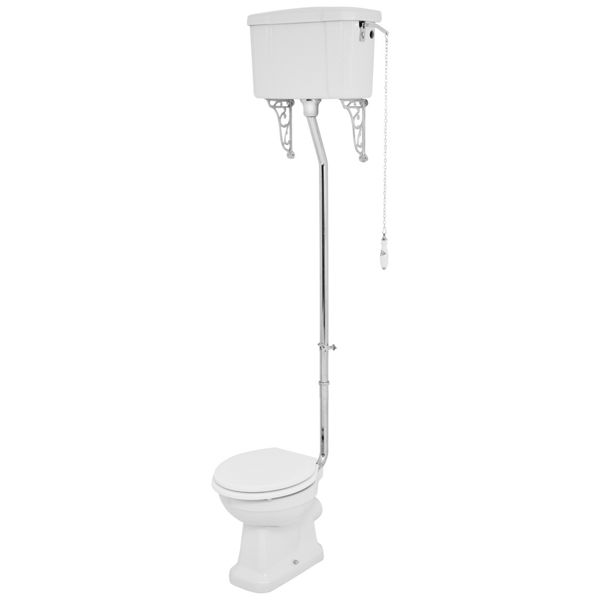 Wickes Oxford Traditional High Level Toilet Pan, Cistern & White Soft Close Seat