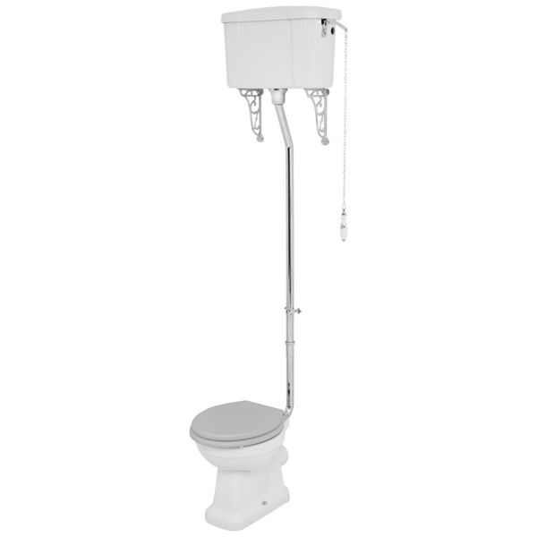 Wickes Oxford Traditional High Level Toilet Pan, Cistern & Grey Soft Close Seat