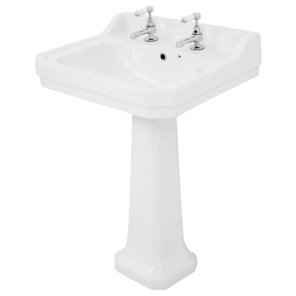 Wickes Oxford Traditional 2 Tap Hole Ceramic Bathroom Basin with Full Pedestal - 610mm