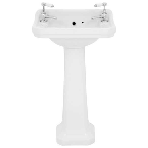 Wickes Oxford Traditional 2 Tap Hole Ceramic Bathroom Basin with Full Pedestal - 550mm