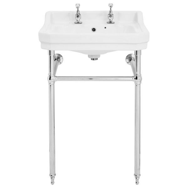 Wickes Oxford Traditional 2 Tap Hole Ceramic Bathroom Basin with Chrome Washstand - 500mm