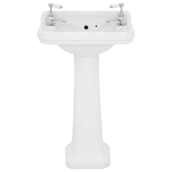 Wickes Oxford Traditional 2 Tap Hole Ceramic Bathroom Basin with Full Pedestal - 500mm