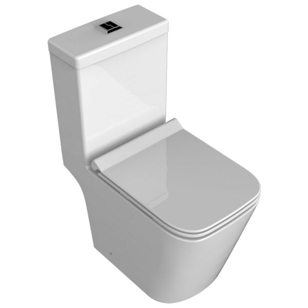 Wickes Meleti Easy Clean Close Coupled Open Back Toilet Pan, Cistern & Soft Close Slim Seat - 815 x 350mm