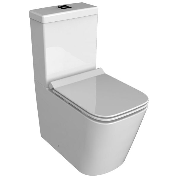 Wickes Meleti Easy Clean Close Coupled Fully Shrouded Toilet Pan, Cistern & Soft Close Slim Seat - 815 x 350mm