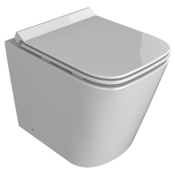 Wickes Meleti Easy Clean Back To Wall Toilet Pan & Soft Close Slim Seat - 400 x 350mm