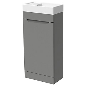 Wickes Malmo Dust Grey Cloakroom Freestanding J Pull Vanity Unit & Basin - 850 x 400mm