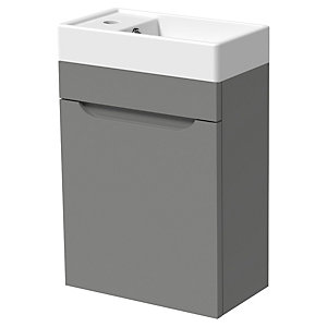 Wickes Malmo Dust Grey Cloakroom Wall Hung J Pull Vanity Unit & Basin - 500 x 400mm