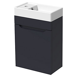 Wickes Malmo Indigo Blue Cloakroom Wall Hung J Pull Vanity Unit & Basin - 500 x 400mm