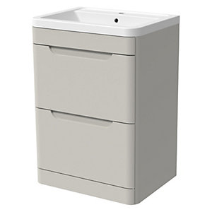 Wickes Malmo Light Grey Freestanding J Pull Vanity Unit & Basin - 850 x 600mm