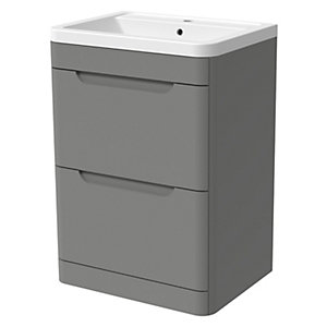 Wickes Malmo Dust Grey Freestanding J Pull Vanity Unit & Basin - 850 x 600mm