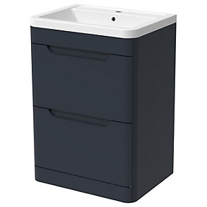 Wickes Malmo Indigo Blue Freestanding J Pull Vanity Unit & Basin - 850 x 600mm