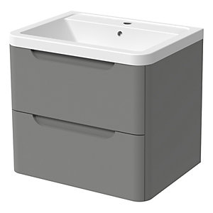 Wickes Malmo Dust Grey Wall Hung J Pull Vanity Unit & Basin - 500 x 600mm