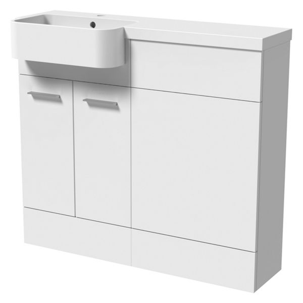 Wickes Geneva White P-shaped Right Hand Freestanding Vanity & Toilet Pan Unit with Basin - 940 x 1000mm