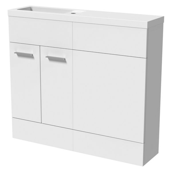 Wickes Geneva White Straight Freestanding Vanity & Toilet Pan Unit with Basin - 904 x 1000mm