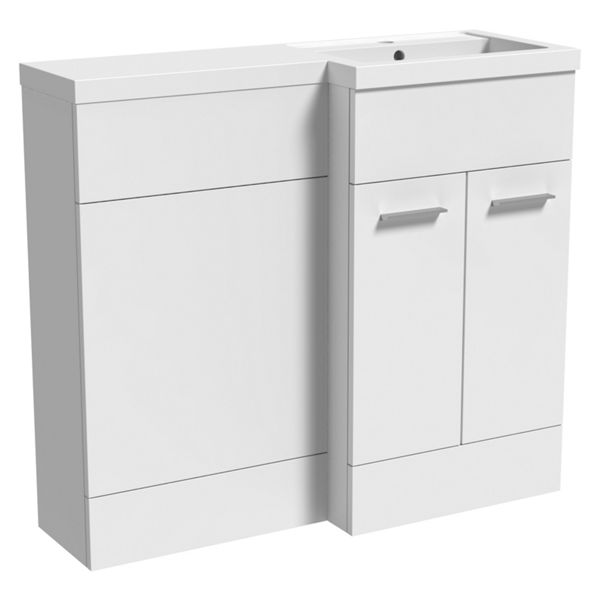 Wickes Geneva White L-shaped Right Hand Freestanding Vanity & Toilet Pan Unit with Basin - 840 x 1000mm