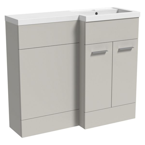Wickes Geneva Grey L-shaped Right Hand Freestanding Vanity & Toilet Pan Unit with Basin - 840 x 1000mm