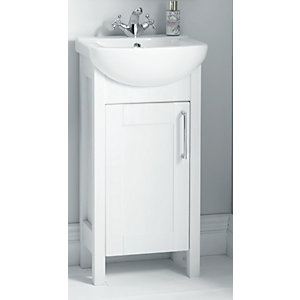 Wickes Frontera White Freestanding Traditional Vanity Unit With Basin - 830 x 450mm