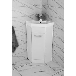 Wickes Porto White Gloss Corner Freestanding Vanity Unit With Basin -840 x 420mm