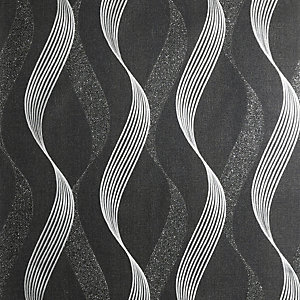 Arthouse Luxe Ribbon Black & Silver Wallpaper 10.05m x 53cm