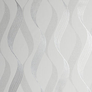 Arthouse Luxe Ribbon White & Silver Wallpaper 10.05m x 53cm