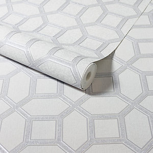 Arthouse Luxe Origin White & Silver Wallpaper 10.05m x 53cm