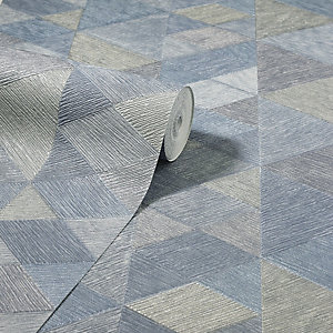 Arthouse Luxe Triangle Denim Blue Wallpaper 10.05m x 53cm