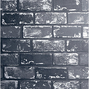 Arthouse Metallic Brick Black & Silver Wallpaper 10.05m x 53cm