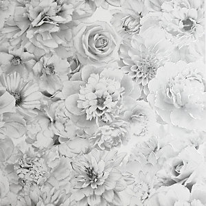 Arthouse Glitter Bloom Silver Wallpaper 10.05m x 53cm