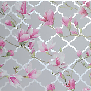 Arthouse Magnolia Trellis Grey & Pink Wallpaper 10.05m x 53cm