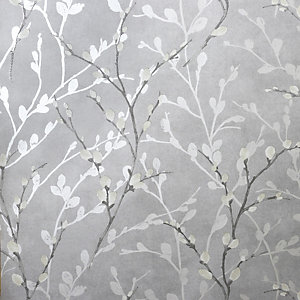 Arthouse Glitter Willow Silver Wallpaper 10.05m x 53cm