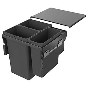 Image of Envi Anthracite Pull Out Waste Bin 2x32l & 21l For 600mm Base Unit