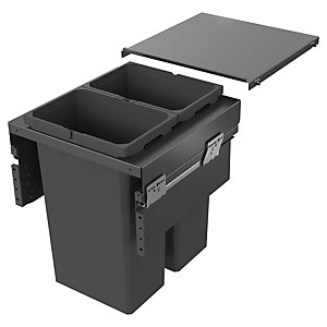 Image of Envi Anthracite 2x32l Pull Out Waste Bin For 500mm Base Unit