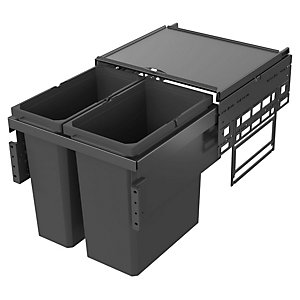 Image of Envi Anthracite Under Sink Pull Out Waste Bin 1x21l & 1x28l For 500mm Base Unit