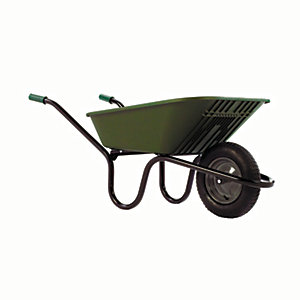 Image of Haemmerlin Vibrante Go Polypropylene Pneumatic Wheelbarrow Green - 90L