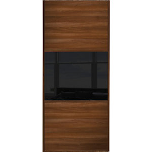 Spacepro Sliding Wardrobe Door Wideline Walnut Panel & Black Glass - 2220 x 610mm