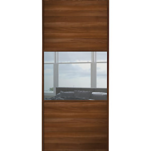 Spacepro Sliding Wardrobe Door Wideline Walnut Panel & Mirror