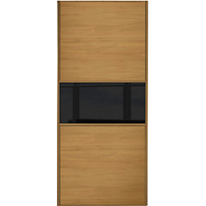 Spacepro Sliding Wardrobe Door Fineline Oak Panel & Black Glass - 2220 x 610mm