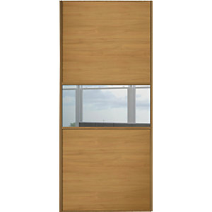 Spacepro Sliding Wardrobe Door Fineline Oak Panel & Mirror