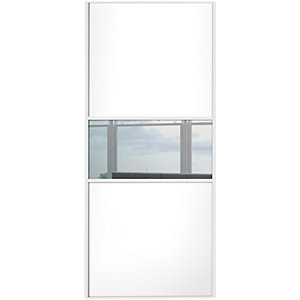Spacepro Sliding Wardrobe Door Fineline White Panel & Mirror