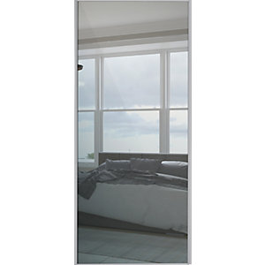 Spacepro Sliding Wardrobe Door Silver Framed Single Panel Mirror