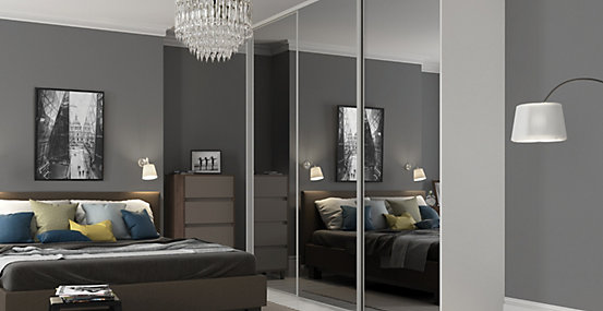 Sliding Wardrobe Door Silver Framed Single Panel Mirror