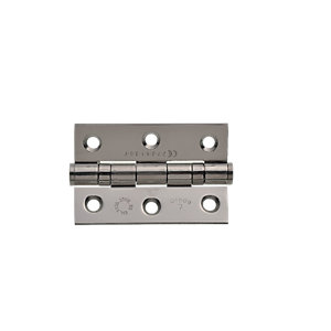 Wickes Grade 7 Fire Rated Ball Bearing Hinge - Polished Stainless Steel 75 x 51 x 2mm Pack of 10