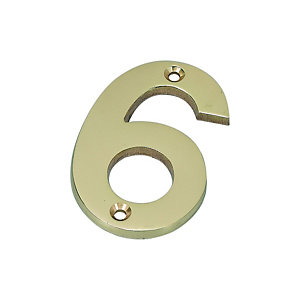 Wickes Door Number 6 - Brass