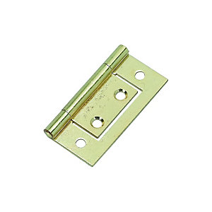 Wickes Flush Hinge - Brass 51mm Pack of 2