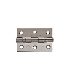 Image of Wickes Grade 7 Fire Rated Ball Bearing Hinge - Stainless Steel 75mm Pack of 2