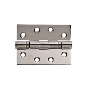 Image of Wickes Grade 11 Ball Bearing Hinge - Polished Stainless Steel 102mm Pack of 2