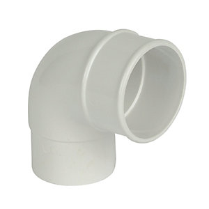 FloPlast RB1W Round Line Downpipe Offset Bend - White 92.5 Deg x 68mm
