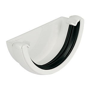 Floplast 112mm Round Line Gutter External Stopend - White