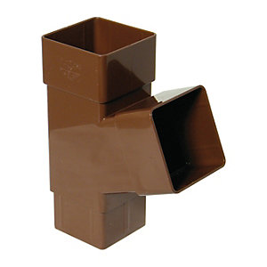 FloPlast RYS1BR Square Downpipe 67.5 Deg Branch - Brown 65mm